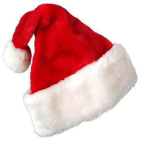 Christmas Party Santa Hat Velvet Red And White Cap for Santa Claus Costume - RED