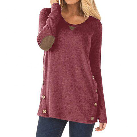 95927672d1 Women s Round Neck Button Patch Design Solid Color Casual Long Sleeve T- shirt - RED