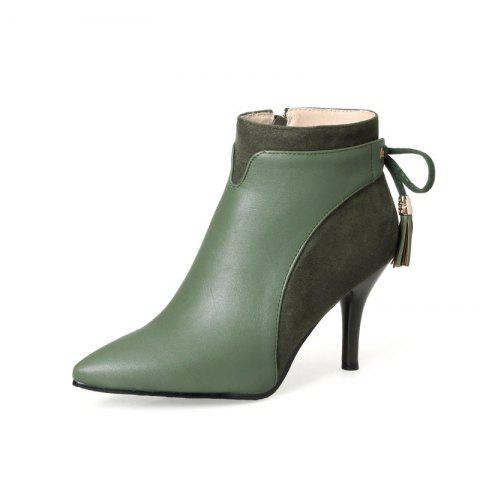 a7fee7b3e6 Stitching Stitching High PU Thin Back Lacing Ankle Boots - DARK FOREST  GREEN EU 43
