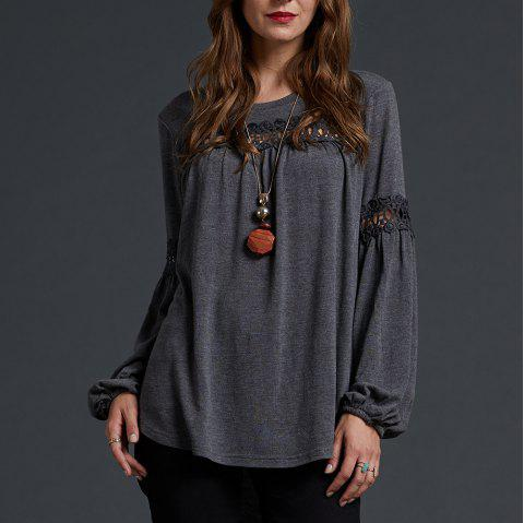 SBETRO Solid Blouse Scoopneck Lace Jersey Knit Brushed Cozy Soft Long Sleeve - CARBON GRAY L