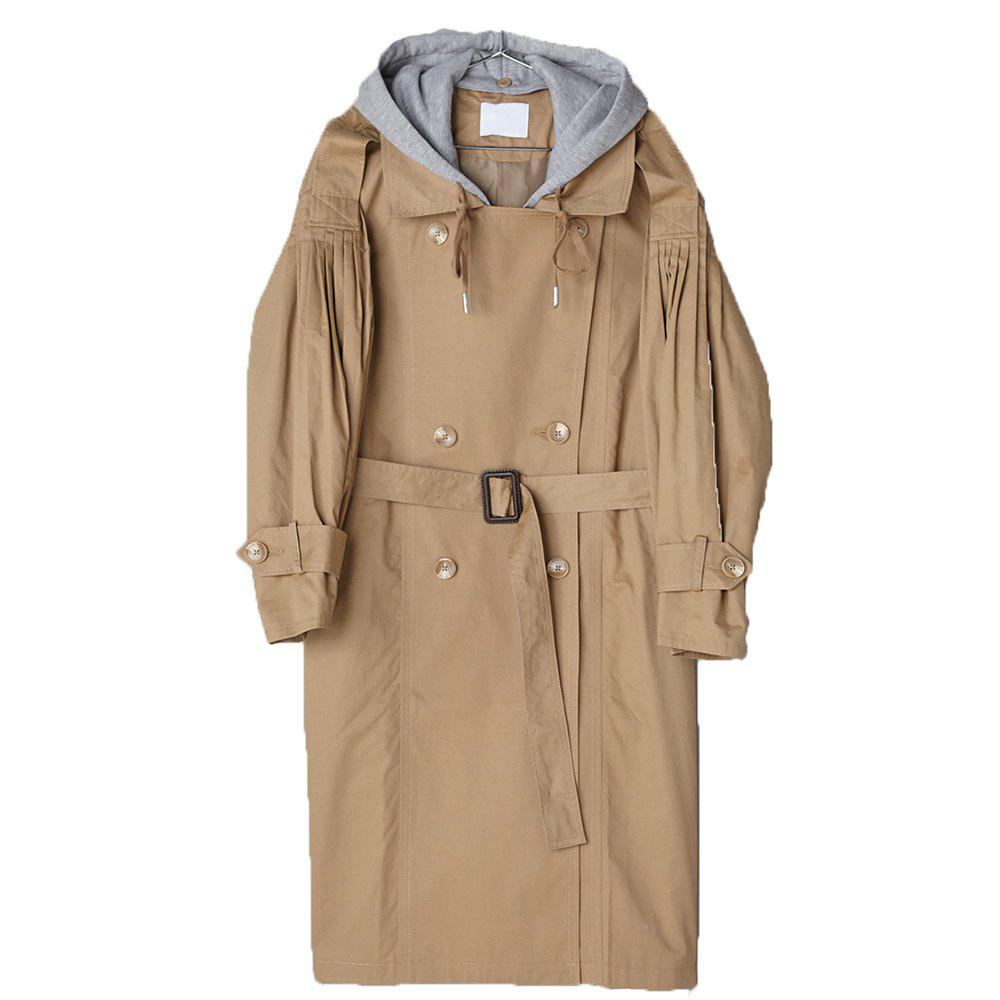HAODUOYI Women'S Loose Lapel Knit Hooded Trench Coat Brown - CAMEL BROWN M