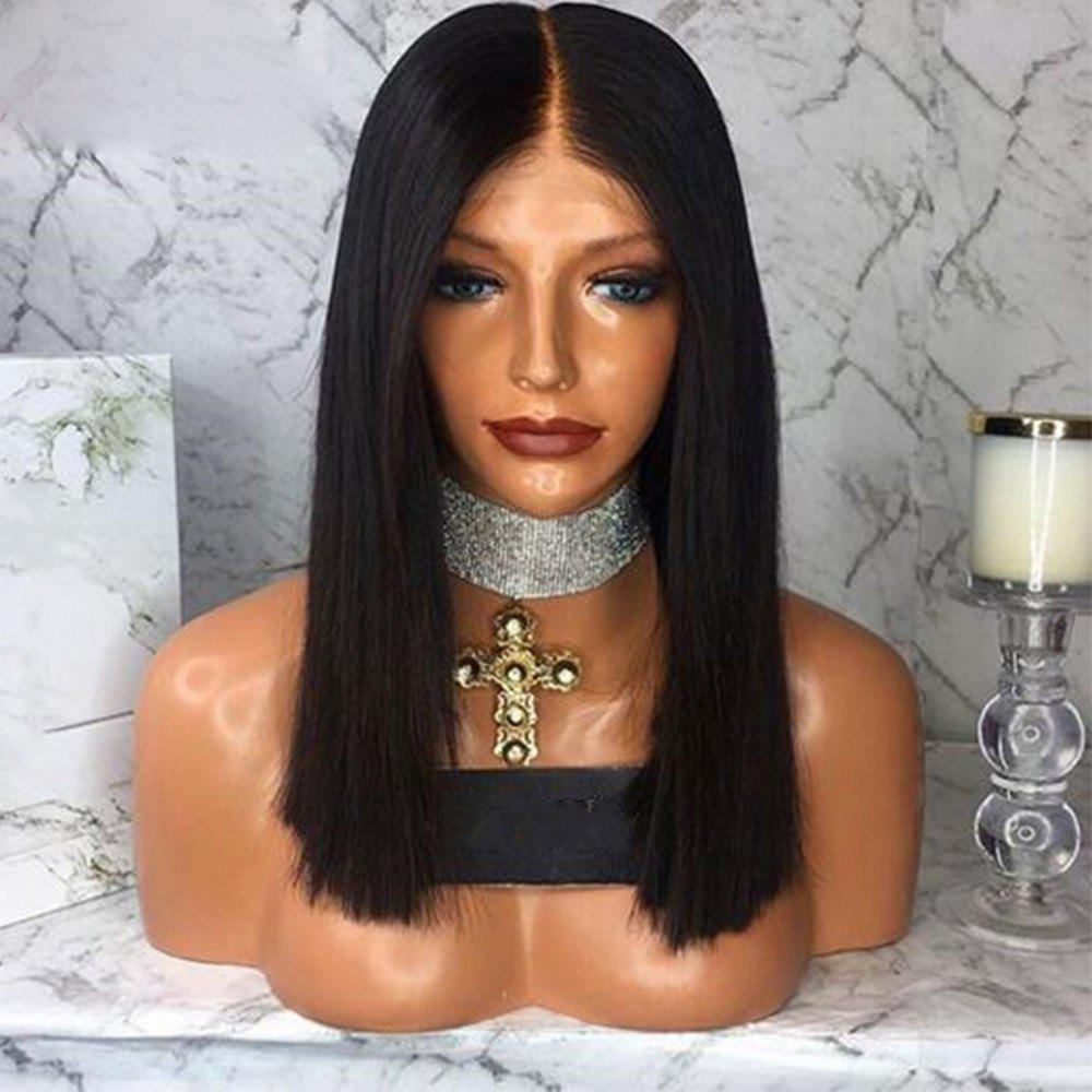 Short Bob Lace Front Wigs Middle Part Human Hair Wigs For Women - NATURAL BLACK 14 INCHES
