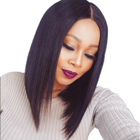 Bob Haircut Human Hair Lace Front Wigs Middle Part Wigs With Baby Hair - NATURAL BLACK 12 INCHES