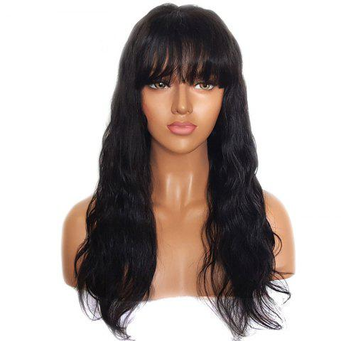 Long Natural Wave Human Hair Lace Front Wigs with Bang - NATURAL BLACK 20 INCHES