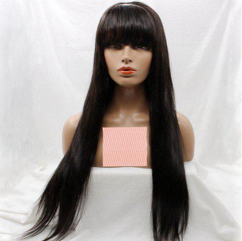 Long Silky Straight Lace Front Wig With Bang Human Hair Wig - NATURAL BLACK 22 INCHES