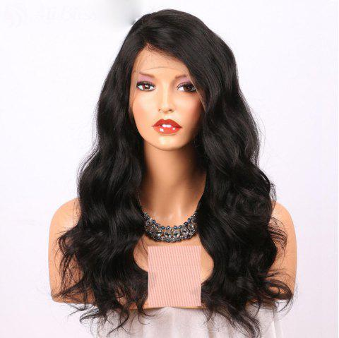 Long Wavy Side Part Lace Front Wigs Human Hair Wig with Baby Hair - NATURAL BLACK 22 INCHES