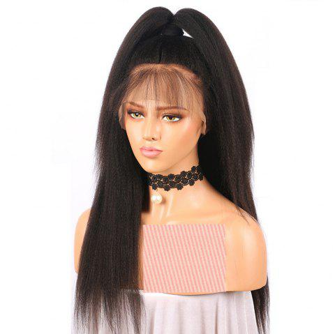 Yaki Straight Middle Part Natrural Black Lace Front Human Hair Wigs - NATURAL BLACK 22 INCHES