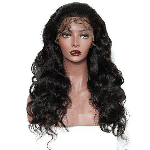 Long Body Wave Free Part Natural Black Lace Front Human Hair Wigs with Baby Hair - NATURAL BLACK 20 INCHES