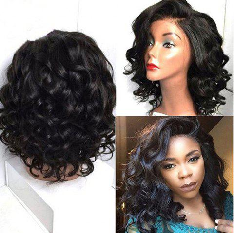 Short Curly Side Part Natural Black Color Lace Front Human Hair Wigs - NATURAL BLACK 14 INCHES