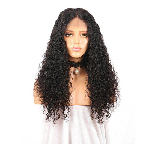 Long Curly Lace Front Human Hair Wig For Women with Natural Hairline - NATURAL BLACK 22 INCHES