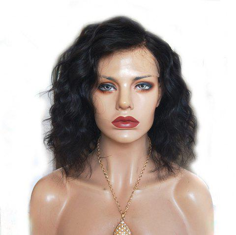 Short Side Part Natural Wave Lace Front Human Hair Wigs Natural Black Color - NATURAL BLACK 12 INCHES