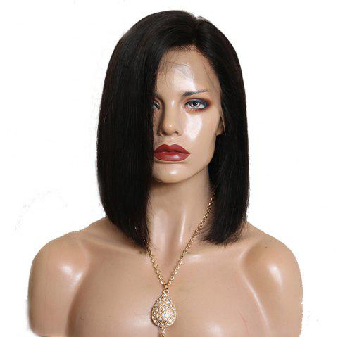 Short Bob Natural Black Color Side Part Human Hair Lace Front Wigs for Ladies - NATURAL BLACK 12 INCHES