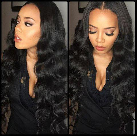 Body Wave Natural Black Color Human Hair Lace Front Wig for Women - NATURAL BLACK 22 INCHES