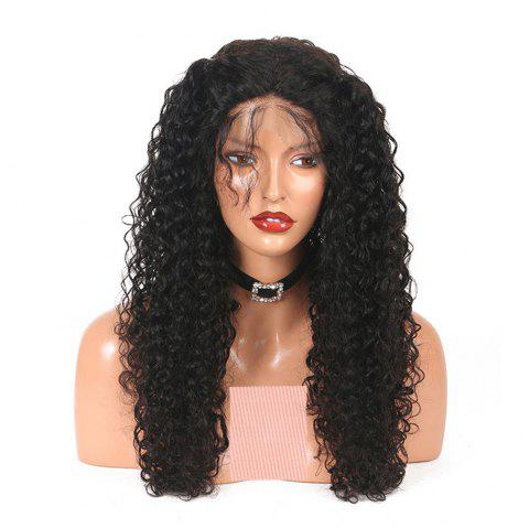 Kinky Curly Long Human Hair Lace Front Wig For Women with Baby Hair - NATURAL BLACK 22 INCHES