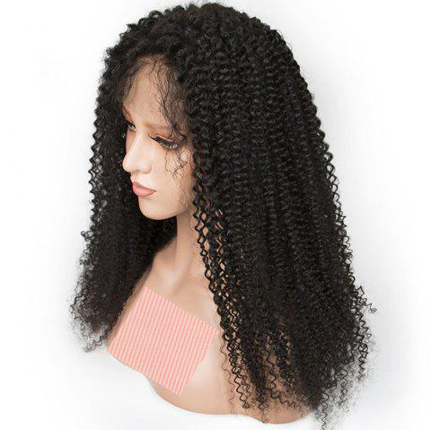 Long Kinky Curly Natural Black Color Human Hair Lace Front Wig for Women - NATURAL BLACK 20 INCHES