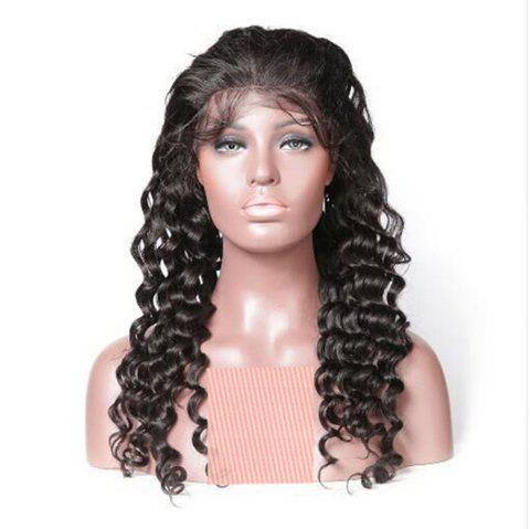 Long Deep Wave Natural Black Color Human Hair Lace Front Wig For Women - NATURAL BLACK 20 INCHES