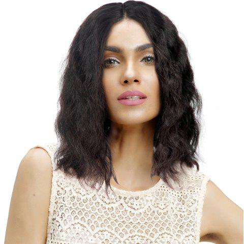 Short Natural Wave Middle Part Human Hair Lace Front Wig Bleached Knots - NATURAL BLACK 14 INCHES