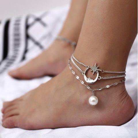 Pearl pendant multi-layer beach anklet - SILVER 1PC