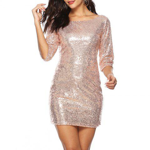 Sexy Round Neck Cropped Sleeve Hip Mini Sequin Dress - APRICOT M