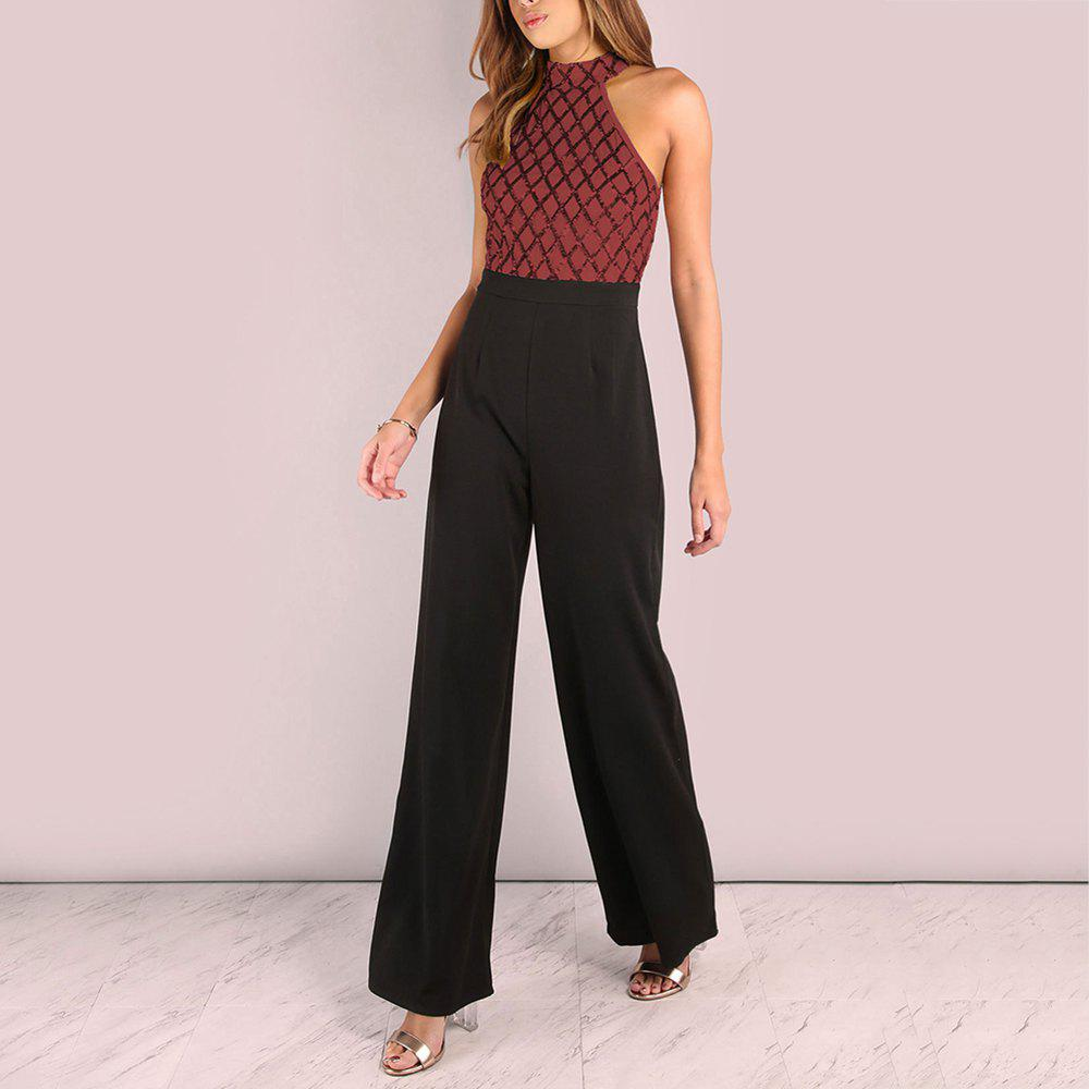 Sexy Sequined Stitching Sleeveless Slim Jumpsuit Long Flared Pants - RED L