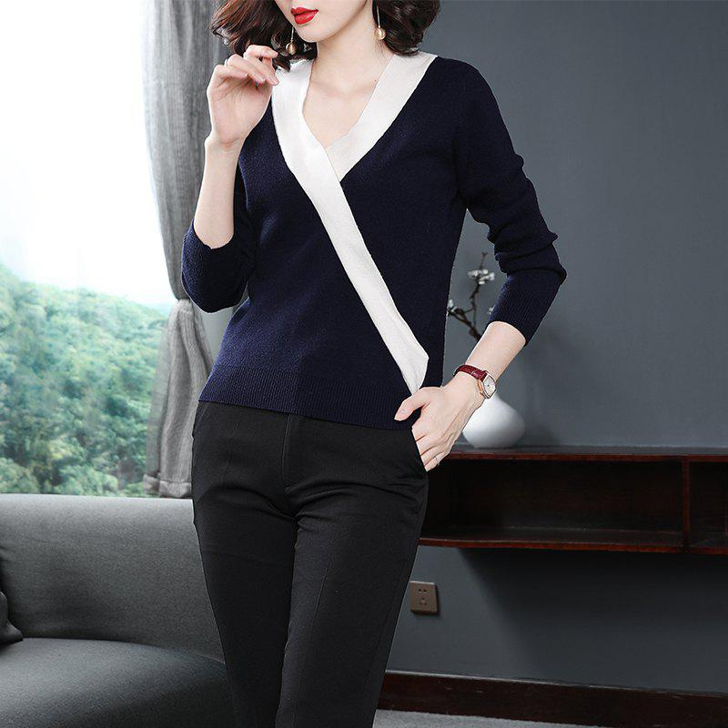 A Fashionable Knitted Sweater Top - MIDNIGHT BLUE ONE SIZE