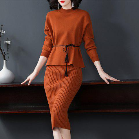 A Waist Knitted Dress of Elegant Temperament - CHOCOLATE ONE SIZE