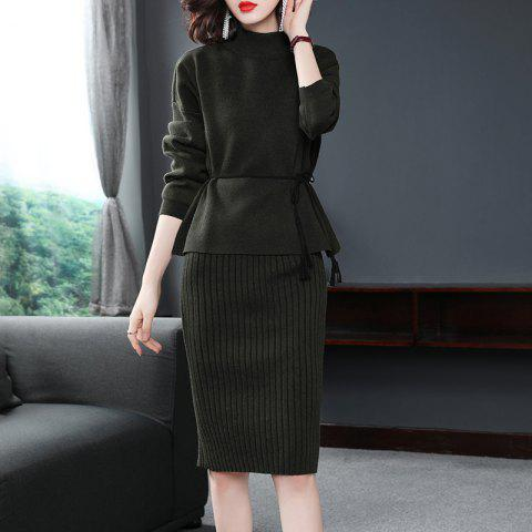 A Waist Knitted Dress of Elegant Temperament - ARMY GREEN ONE SIZE
