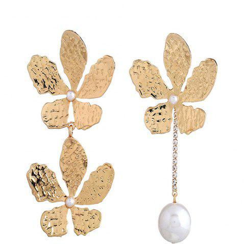 Gold-plated Flowers Fashion Long Pearl Earrings - multicolor D