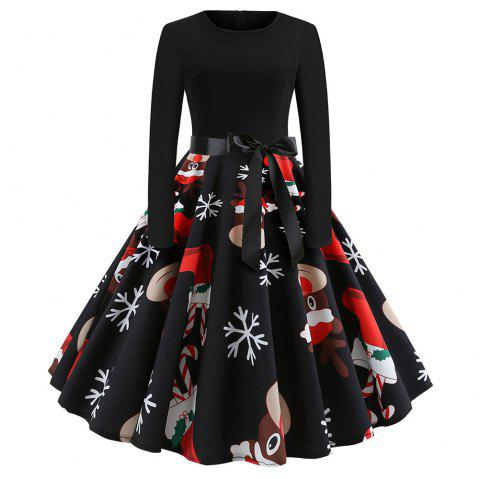 Christmas Printing Long Sleeve with A Belt Dress - multicolor A S