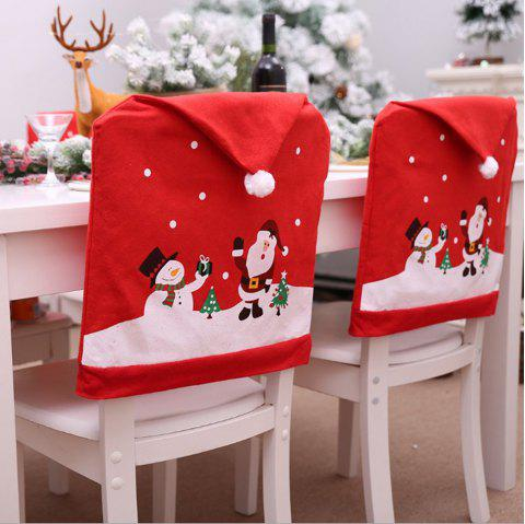 Christmas Cover Santa Claus Chair Set Holiday Decorations - multicolor A