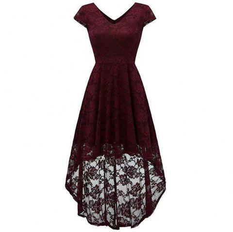 Robe en dentelle cocktail femme à col V - Rouge Vineux S