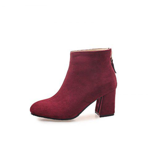New Winter Style Coarse Suede Zipper Warm Boots - RED WINE EU 37