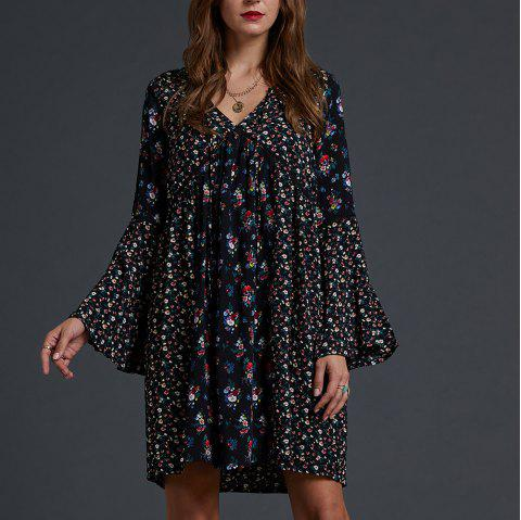 01e2255c196 SBETRO Floral Print Dress Knee Length Empire Waist Bell Sleeve Mix Twin  Print - BLACK 2XL