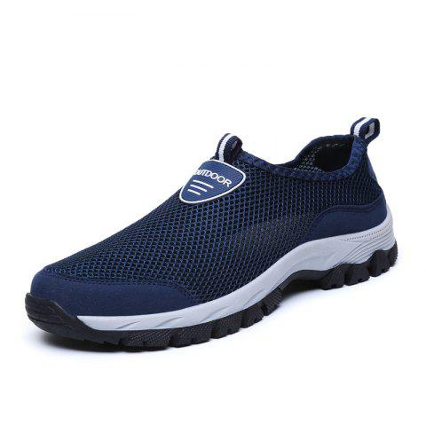 Mesh Light and Breathable Leisure Outdoor Jogging Shoes Men Casual Hiking Shoes - DEEP BLUE EU 44