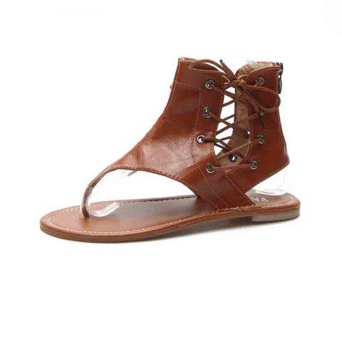 Flat Bottomed Toes Buckles Fashion Casual Sandals - BROWN EU 43