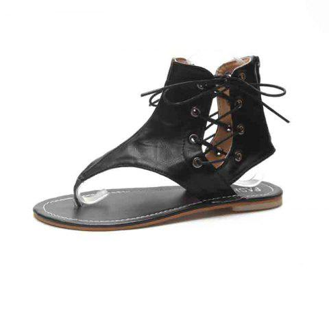 Flat Bottomed Toes Buckles Fashion Casual Sandals - BLACK EU 39