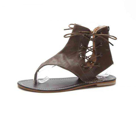 Flat Bottomed Toes Buckles Fashion Casual Sandals - DARK KHAKI EU 39
