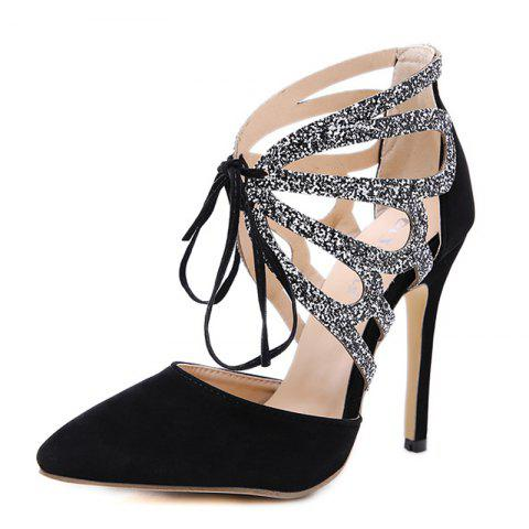Women's Pointed Toe Stiletto Shoes London Party High Heels with Cut Out - BLACK EU 36