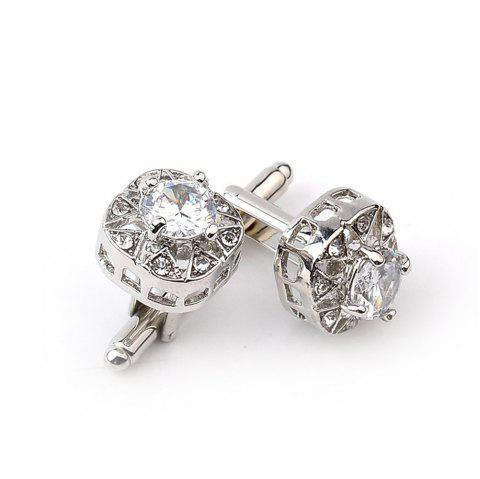 Fashion business suit with diamond cufflinks - SILVER