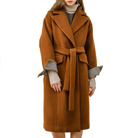 HAODUOYI Women'S Commuting Loose Shoulder Lapel Long Coat Brown - BROWN 2XL