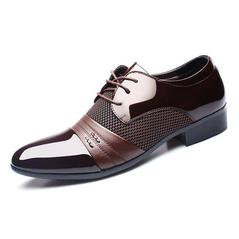 New Men's Business Suits Shoes with Extra Size - BROWN EU 43