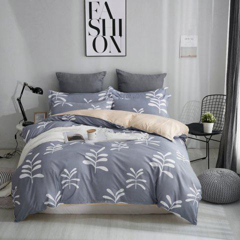 OMONNES Bed Four Pieces of Simple Art Bed Sheets Quilt iris - SLATE GRAY QUEEN SIZE