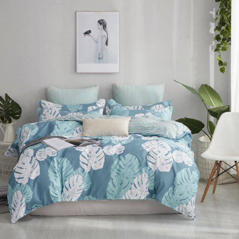 OMONNES Four Sets of Small Fresh Simple Sheets Quilt of Banana Leaves - BLUE KOI FULL