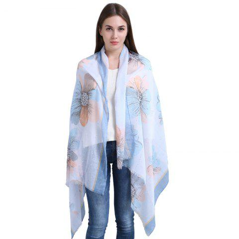 Sequins Floral Print Elegant Scarf for Women Cotton Long Newest Elegant Shawl - DAY SKY BLUE