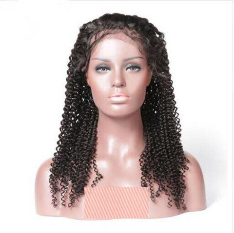 Deep Curly Free Part Natural Black Color Human Hair Lace Front Wig For Ladies - NATURAL BLACK 20 INCHES