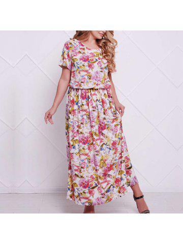 fb13980f51719 New Women Large Size Floral Print Maxi Dress Casual Office Dress Plus