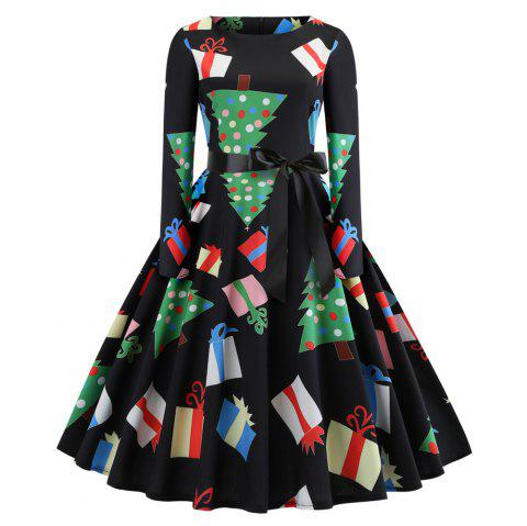 Fashion Womens Christmas Print Criss Cross Gown Evening Party Dress - multicolor A XL