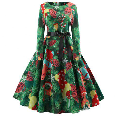Fashion Womens Christmas Print Criss Cross Gown Evening Party Dress - DEEP GREEN S