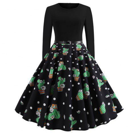 Fashion Women Christmas Print Criss Gown Evening Lovely Party Dress - multicolor B XL
