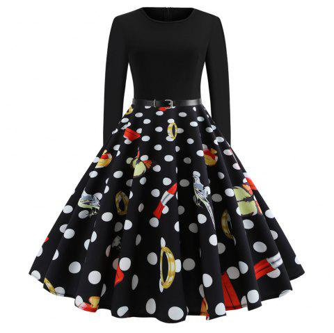 Fashion Women Christmas Print Criss Gown Evening Lovely Party Dress - multicolor A L